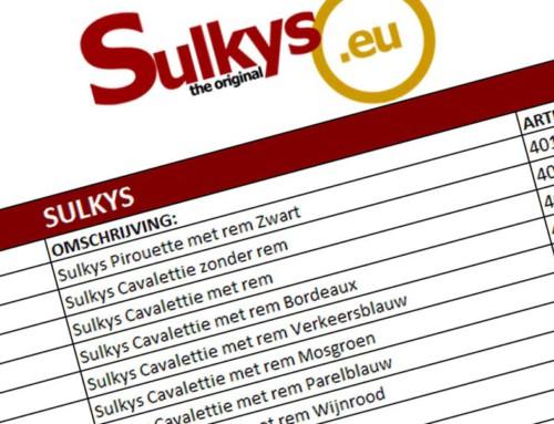 Gewijzigde artikelnummers bij Sulkys